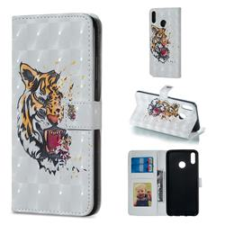 Toothed Tiger 3D Painted Leather Phone Wallet Case for Huawei Honor 8X