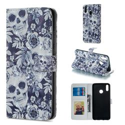 Skull Flower 3D Painted Leather Phone Wallet Case for Huawei Honor 8X