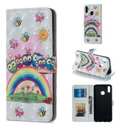 Rainbow Owl Family 3D Painted Leather Phone Wallet Case for Huawei Honor 8X