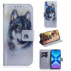 Snow Wolf PU Leather Wallet Case for Huawei Honor 8X