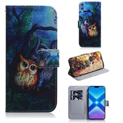 Oil Painting Owl PU Leather Wallet Case for Huawei Honor 8X