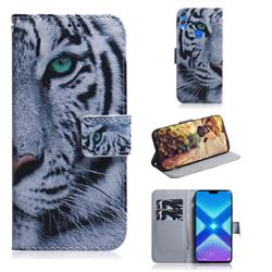 White Tiger PU Leather Wallet Case for Huawei Honor 8X
