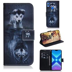 Wolf and Dog PU Leather Wallet Case for Huawei Honor 8X
