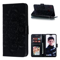 Intricate Embossing Datura Solar Leather Wallet Case for Huawei Honor 8X - Black