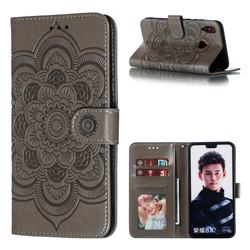 Intricate Embossing Datura Solar Leather Wallet Case for Huawei Honor 8X - Gray