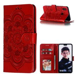 Intricate Embossing Datura Solar Leather Wallet Case for Huawei Honor 8X - Red