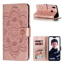Intricate Embossing Datura Solar Leather Wallet Case for Huawei Honor 8X - Rose Gold