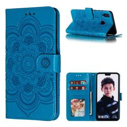 Intricate Embossing Datura Solar Leather Wallet Case for Huawei Honor 8X - Blue