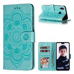 Intricate Embossing Datura Solar Leather Wallet Case for Huawei Honor 8X - Green