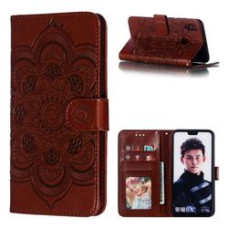 Intricate Embossing Datura Solar Leather Wallet Case for Huawei Honor 8X - Brown