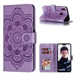 Intricate Embossing Datura Solar Leather Wallet Case for Huawei Honor 8X - Purple