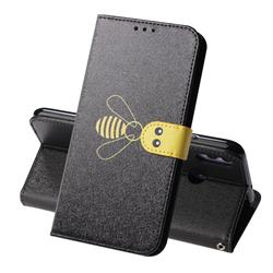Silk Texture Bee Pattern Leather Phone Case for Huawei Honor 8X - Black