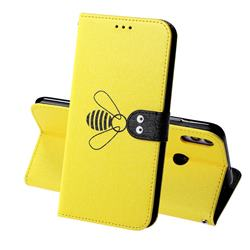 Silk Texture Bee Pattern Leather Phone Case for Huawei Honor 8X - Yellow