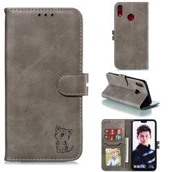 Embossing Happy Cat Leather Wallet Case for Huawei Honor 8X - Gray