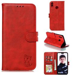 Embossing Happy Cat Leather Wallet Case for Huawei Honor 8X - Red