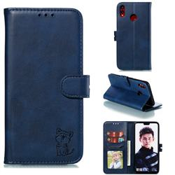 Embossing Happy Cat Leather Wallet Case for Huawei Honor 8X - Blue