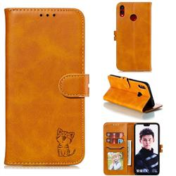 Embossing Happy Cat Leather Wallet Case for Huawei Honor 8X - Yellow