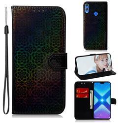 Laser Circle Shining Leather Wallet Phone Case for Huawei Honor 8X - Black