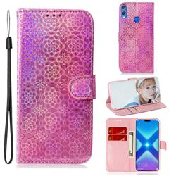 Laser Circle Shining Leather Wallet Phone Case for Huawei Honor 8X - Pink