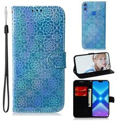 Laser Circle Shining Leather Wallet Phone Case for Huawei Honor 8X - Blue