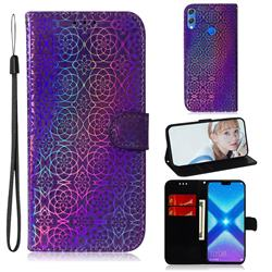 Laser Circle Shining Leather Wallet Phone Case for Huawei Honor 8X - Purple