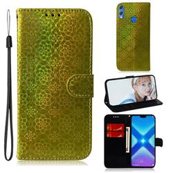 Laser Circle Shining Leather Wallet Phone Case for Huawei Honor 8X - Golden