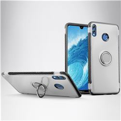 Armor Anti Drop Carbon PC + Silicon Invisible Ring Holder Phone Case for Huawei Honor 8X Max(Enjoy Max) - Silver