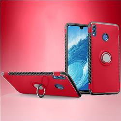 Armor Anti Drop Carbon PC + Silicon Invisible Ring Holder Phone Case for Huawei Honor 8X Max(Enjoy Max) - Red