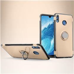Armor Anti Drop Carbon PC + Silicon Invisible Ring Holder Phone Case for Huawei Honor 8X Max(Enjoy Max) - Champagne