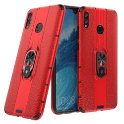 Alita Battle Angel Armor Metal Ring Grip Shockproof Dual Layer Rugged Hard Cover for Huawei Honor 8X Max(Enjoy Max) - Red