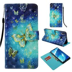 Gold Butterfly 3D Painted Leather Wallet Case for Huawei Honor 8X Max(Enjoy Max)