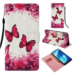 Rose Butterfly 3D Painted Leather Wallet Case for Huawei Honor 8X Max(Enjoy Max)