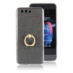 Luxury Soft TPU Glitter Back Ring Cover with 360 Rotate Finger Holder Buckle for Huawei Honor 9 - Black