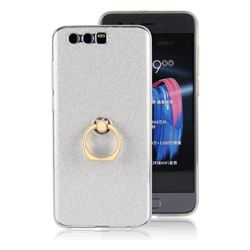 Luxury Soft TPU Glitter Back Ring Cover with 360 Rotate Finger Holder Buckle for Huawei Honor 9 - White