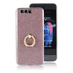 Luxury Soft TPU Glitter Back Ring Cover with 360 Rotate Finger Holder Buckle for Huawei Honor 9 - Pink
