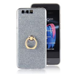 Luxury Soft TPU Glitter Back Ring Cover with 360 Rotate Finger Holder Buckle for Huawei Honor 9 - Blue