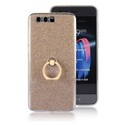 Luxury Soft TPU Glitter Back Ring Cover with 360 Rotate Finger Holder Buckle for Huawei Honor 9 - Golden