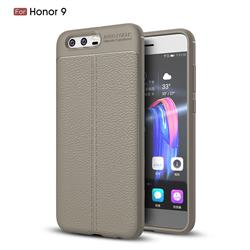 Luxury Auto Focus Litchi Texture Silicone TPU Back Cover for Huawei Honor 9 - Gray