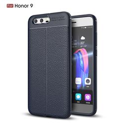 Luxury Auto Focus Litchi Texture Silicone TPU Back Cover for Huawei Honor 9 - Dark Blue