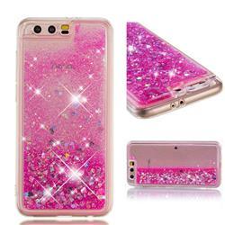 Dynamic Liquid Glitter Quicksand Sequins TPU Phone Case for Huawei Honor 9 - Rose