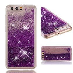 Dynamic Liquid Glitter Quicksand Sequins TPU Phone Case for Huawei Honor 9 - Purple