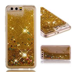 Dynamic Liquid Glitter Quicksand Sequins TPU Phone Case for Huawei Honor 9 - Golden