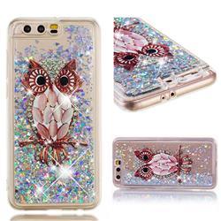 Seashell Owl Dynamic Liquid Glitter Quicksand Soft TPU Case for Huawei Honor 9
