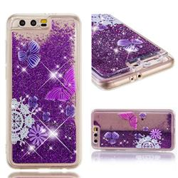 Purple Flower Butterfly Dynamic Liquid Glitter Quicksand Soft TPU Case for Huawei Honor 9