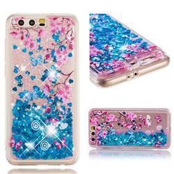 Blue Plum Blossom Dynamic Liquid Glitter Quicksand Soft TPU Case for Huawei Honor 9