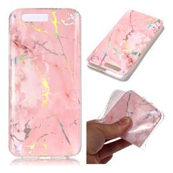Powder Pink Marble Pattern Bright Color Laser Soft TPU Case for Huawei Honor 9