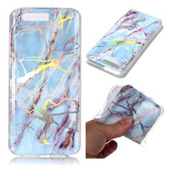 Light Blue Marble Pattern Bright Color Laser Soft TPU Case for Huawei Honor 9