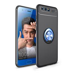 Auto Focus Invisible Ring Holder Soft Phone Case for Huawei Honor 9 - Black Blue