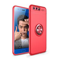 Auto Focus Invisible Ring Holder Soft Phone Case for Huawei Honor 9 - Red