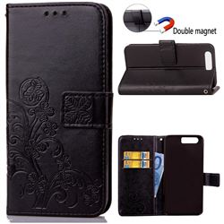 Embossing Imprint Four-Leaf Clover Leather Wallet Case for Huawei Honor 9 - Black
